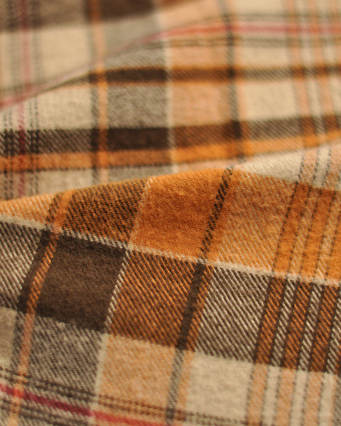 flannel shirt plaid orange brown detail fabric