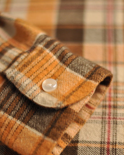 flannel shirt plaid orange brown detail button