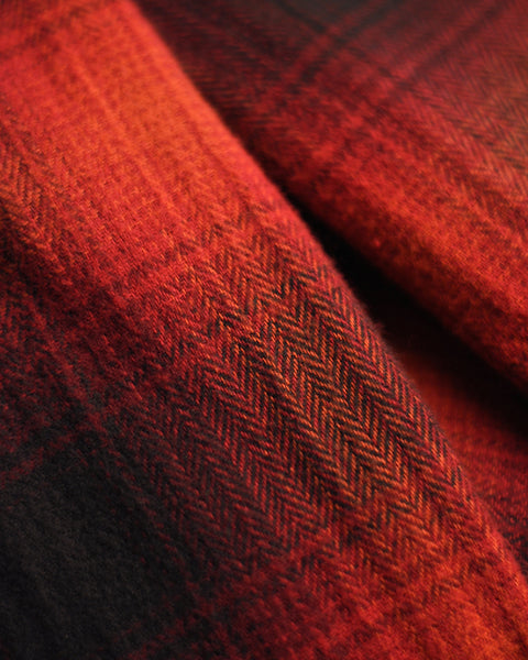 flannel shirt plaid red black detail fabric