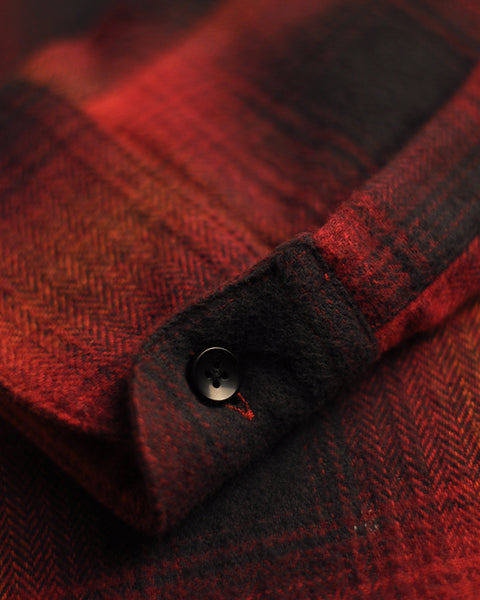 flannel shirt plaid red black detail button