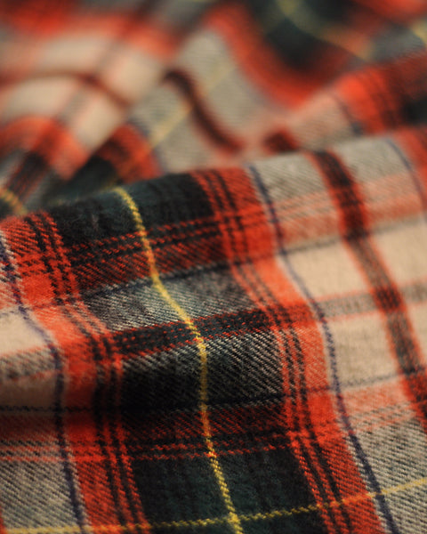 flannel shirt plaid green red detail fabric