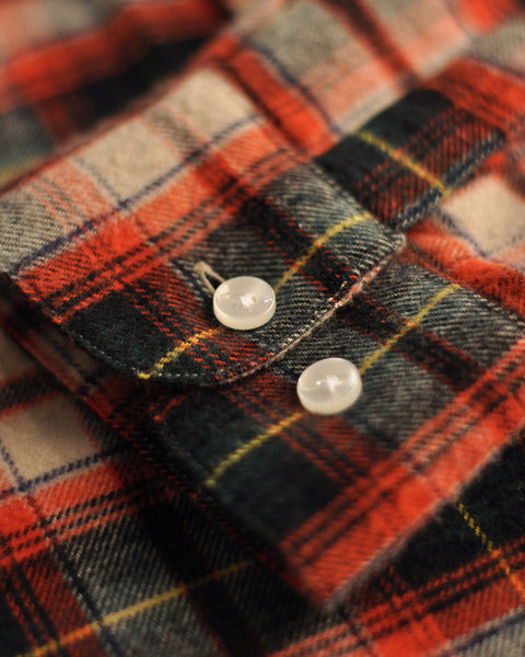 flannel shirt plaid green red detail buttons