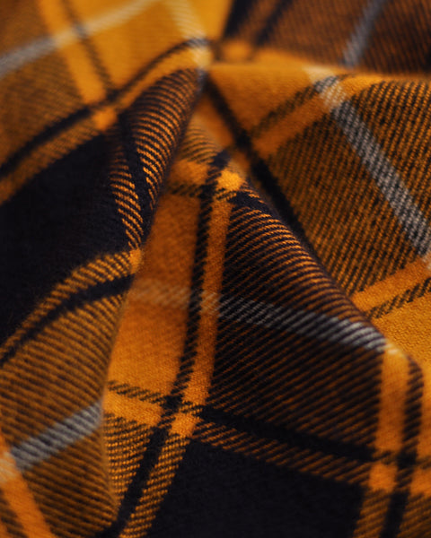flannel shirt plaid yellow black detail fabric