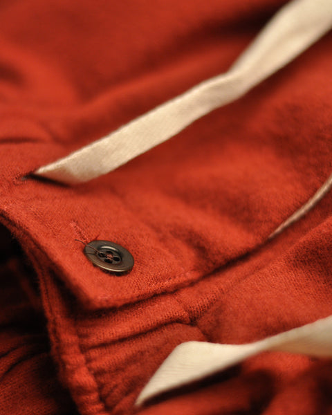 flannel trousers bordeaux red detail button