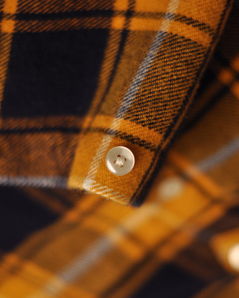 flannel shirt plaid yellow black detail button