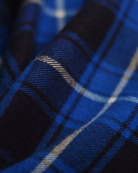 flannel shirt plaid blue white detail fabric