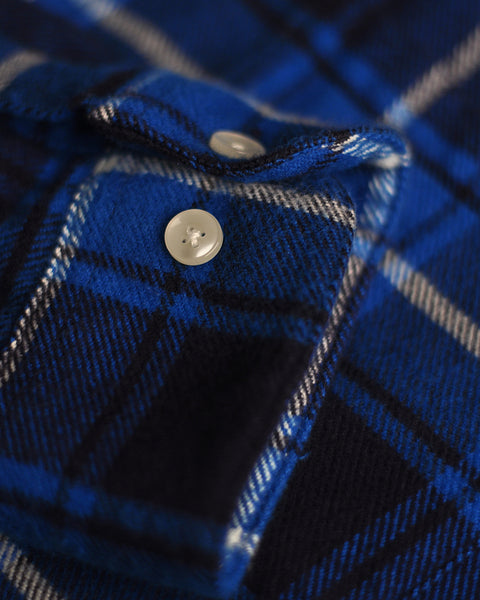 flannel shirt plaid blue white detail button
