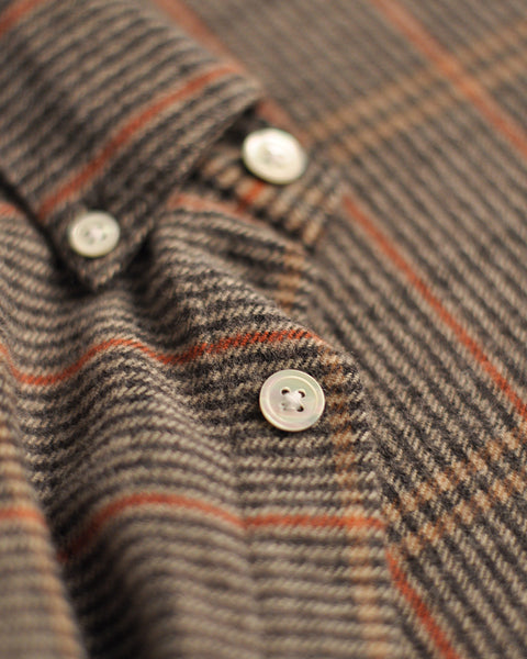 flannel shirt striped grey orange detail button