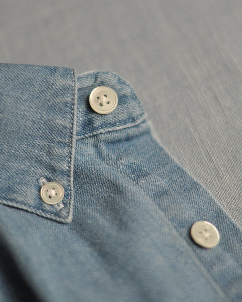 denim shirt blue detail buttons