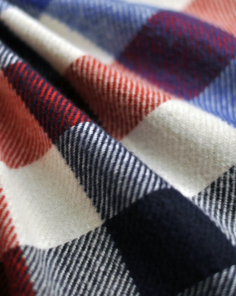 flannel shirt gingham red blue detail fabric
