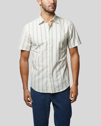 striped green short sleeve shirt model front
