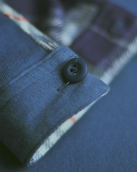 flannel reversible blue detail button sleeve