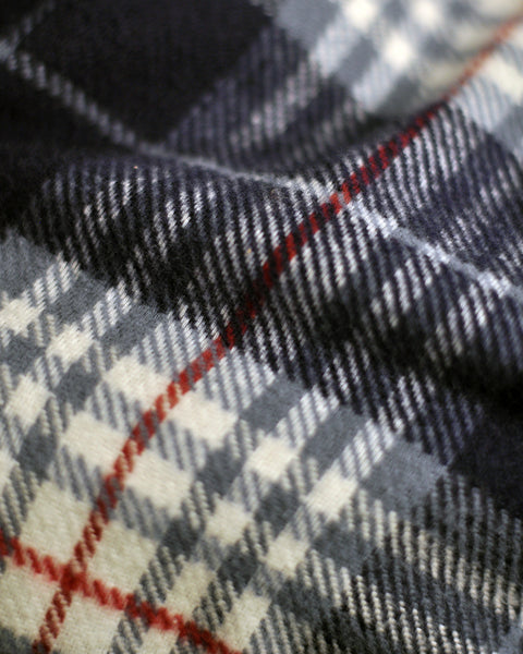 flannel reversible blue detail fabric