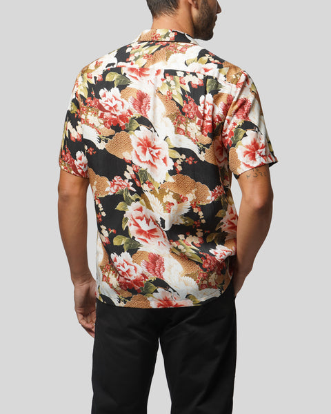 flower printed short sleeve shirt model back