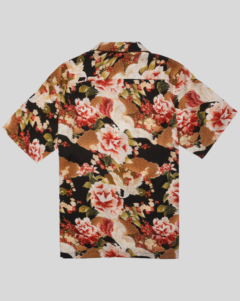 flower printed short sleeve shirt product back