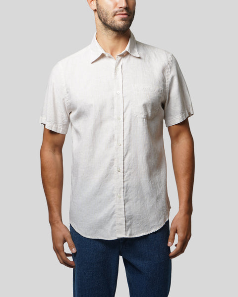 striped toasted short sleeve shirt model front