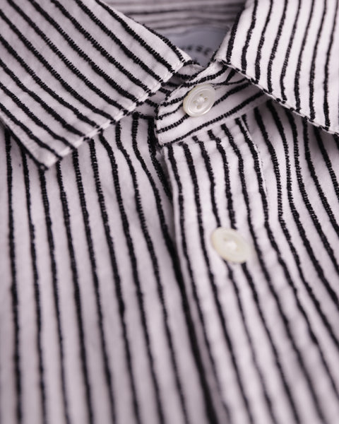 striped black and white short sleeve shirt detail button