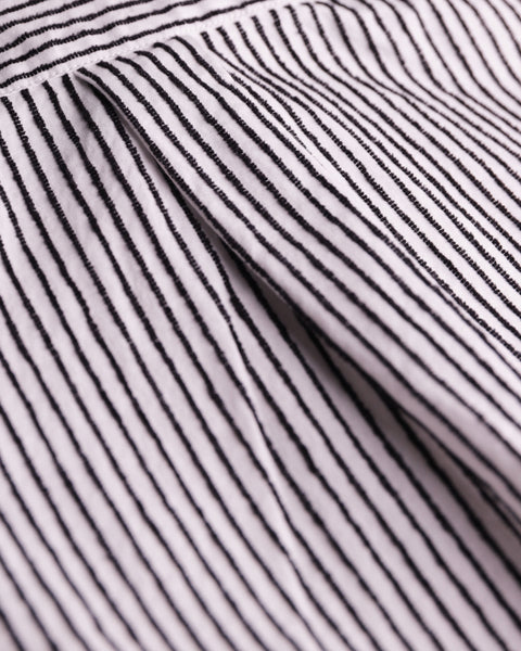 striped black and white short sleeve shirt detail fabric