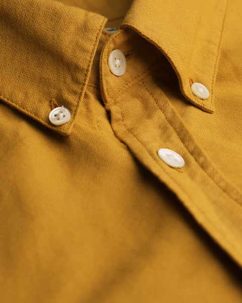 mustard long sleeve shirt oxford detail collar