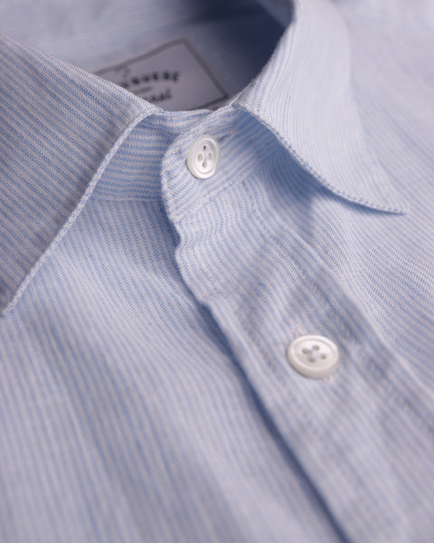 striped blue short sleeve shirt detail button