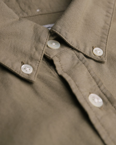 olive long sleeve oxford shirt detail collar