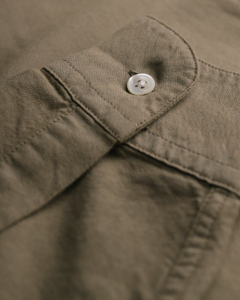 olive long sleeve oxford shirt detail button