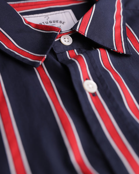 red blue striped short sleeve shirt detail collar