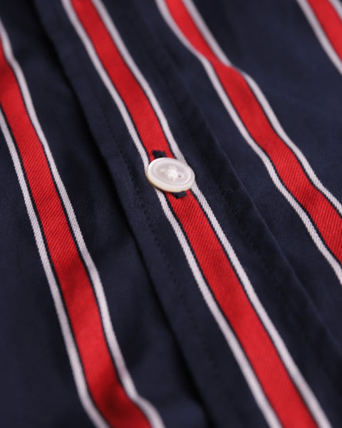 red blue striped short sleeve shirt detail button