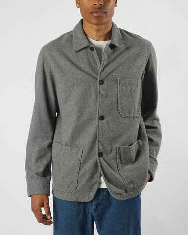 flannel jacket grey model front