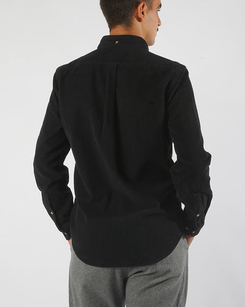 corduroy shirt black model back