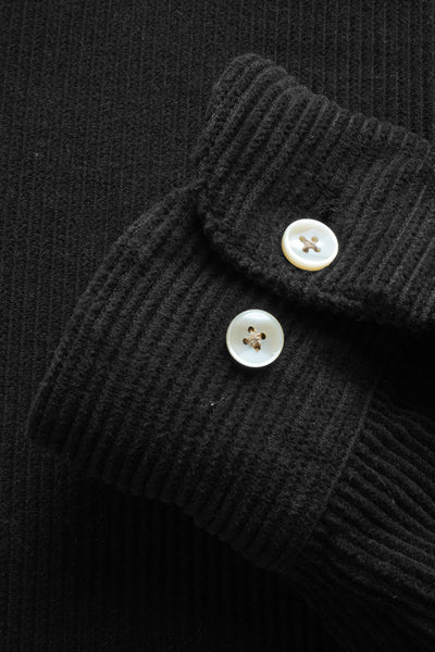 corduroy shirt black detail buttons