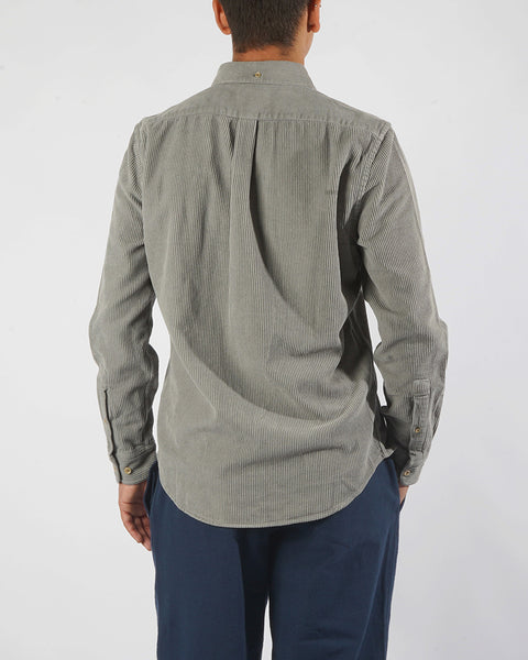 corduroy shirt grey model back