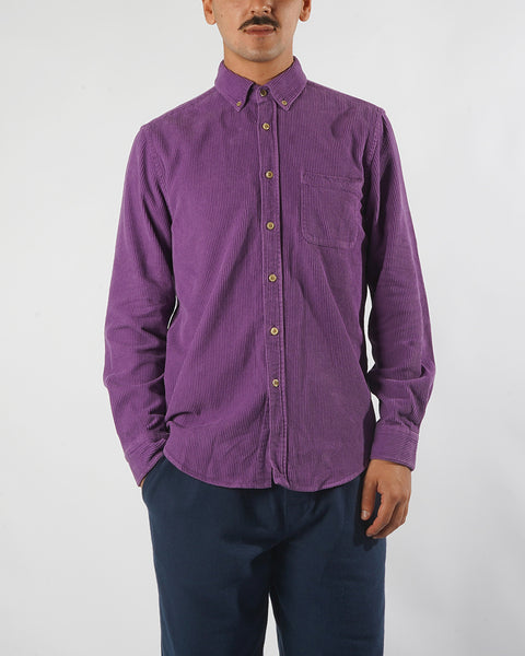 corduroy shirt purple model front
