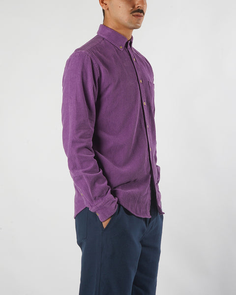 corduroy shirt purple model side