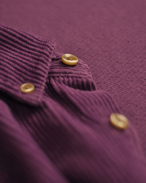 corduroy shirt purple detail button