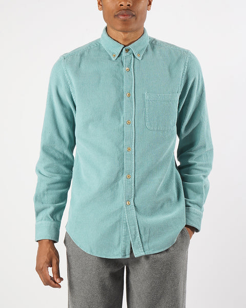 corduroy shirt turquoise model front