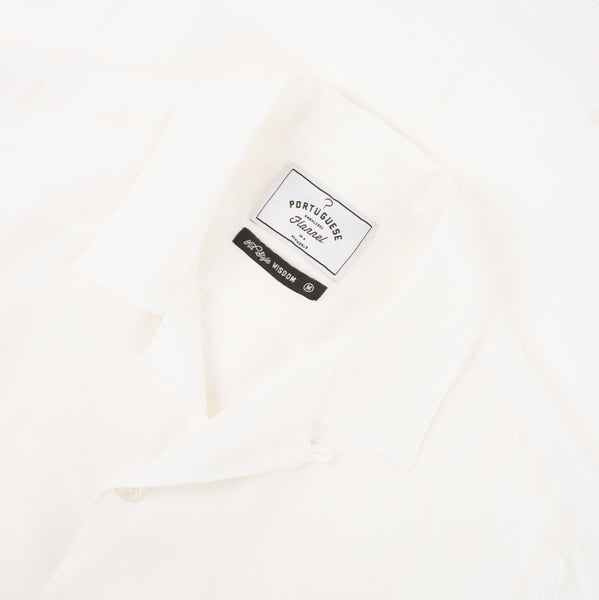 LINEN CAMP COLLAR - WHITE