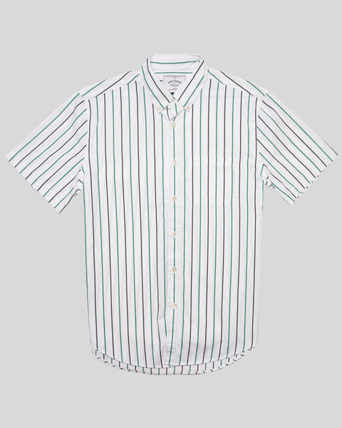 blue green striped short sleeve shirt product front