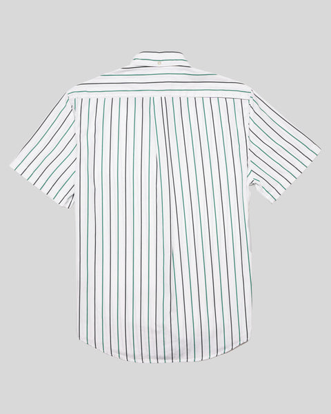blue green striped short sleeve shirt product back