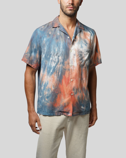tie dye blue red short sleeve shirt model front
