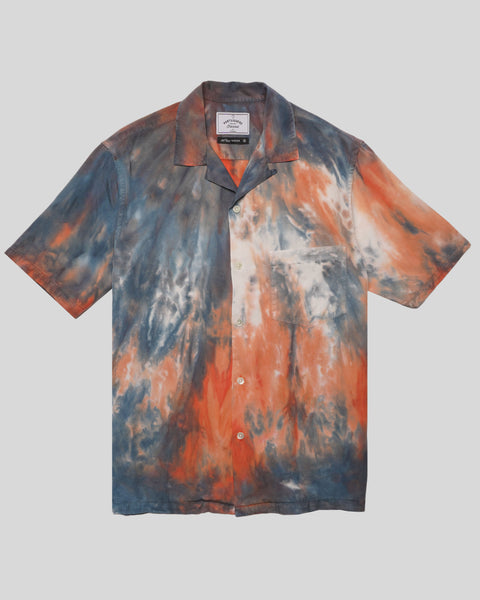 tie dye blue red short sleeve shirt product front