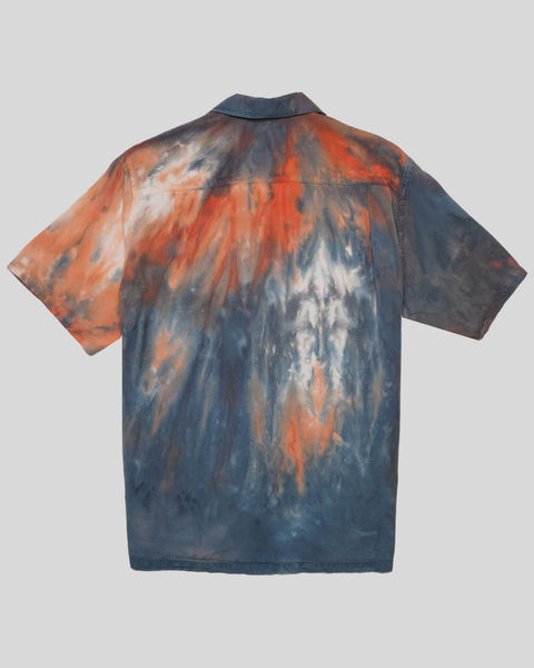 tie dye blue red short sleeve shirt product back