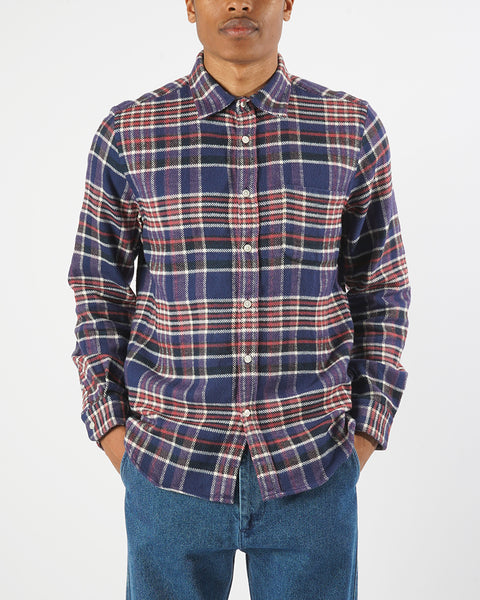 flannel shirt plaid blue red white model front