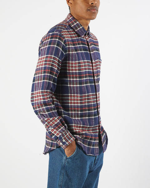 flannel shirt plaid blue red white model side