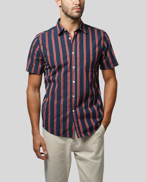 red blue striped short sleeve shirt model front