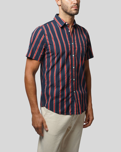 red blue striped short sleeve shirt model side