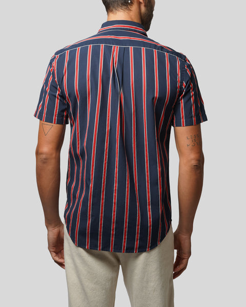 red blue striped short sleeve shirt model back