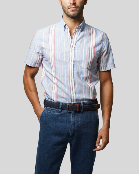 striped blue red white short sleeve shirt model front