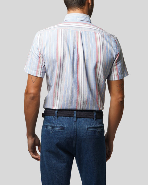 striped blue red white short sleeve shirt model back