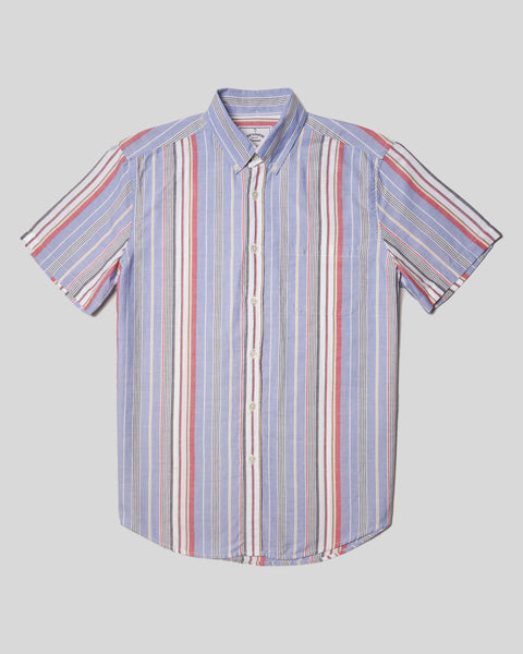 striped blue red white short sleeve shirt product front